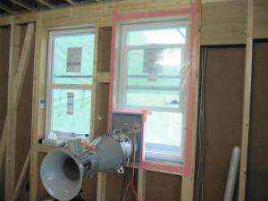 近鉄の注文住宅 外断熱工法エアーウッド 気密測定