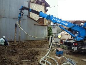 二世帯住宅 4世帯 暮らす 注文住宅 大阪府大阪市  湿式柱状改良工事