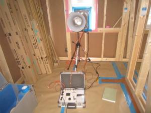 気密測定中 注文住宅 和風住宅