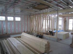 天井・壁下地施工中 薬局建設工事